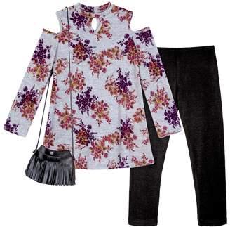 Amy Byer Iz Girls 7-16 & Plus Size IZ Floral Cold Shoulder Keyhole Top & Leggings Set with Fringe Crossbody Purse