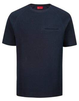 HUGO Boss Relaxed-fit T-shirt in structured stretch cotton M Dark Blue