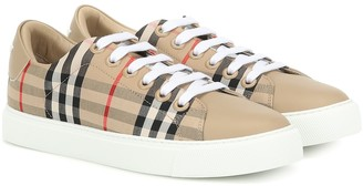 Burberry Check leather-trimmed sneakers