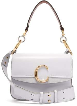 Chloé The C Leather And Suede Shoulder Bag - Womens - Light Blue