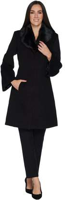 Isaac Mizrahi Live! Bell Sleeve Coat with Removable Faux Fur Collar