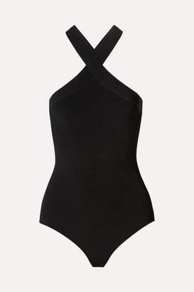 KHAITE Logan Ribbed Stretch-knit Thong Bodysuit - Black