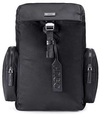 HUGO BOSS Nylon gabardine backpack with smooth leather trims