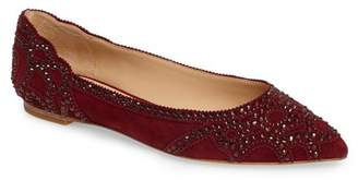 Badgley Mischka Gigi Crystal Pointy Toe Flat (Women)