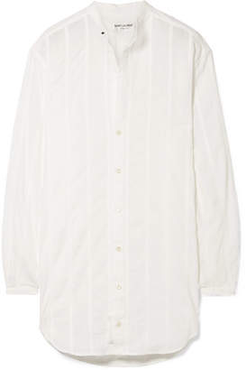 Saint Laurent Oversized Striped Cotton Shirt - White