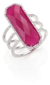 Meira T Ruby, Pave Diamond, 14K White Gold& Silver Ring