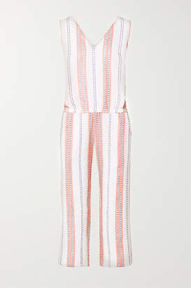 Lemlem Net Sustain Zenha Cropped Striped Cotton-blend Gauze Jumpsuit - White