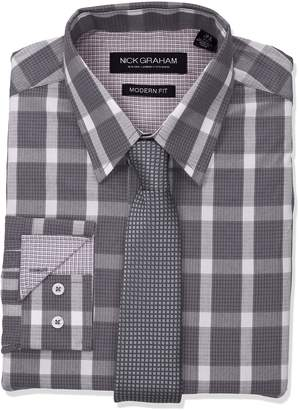 Nick Graham Men's Graph Bufallo Dress Shirt with Tie Set