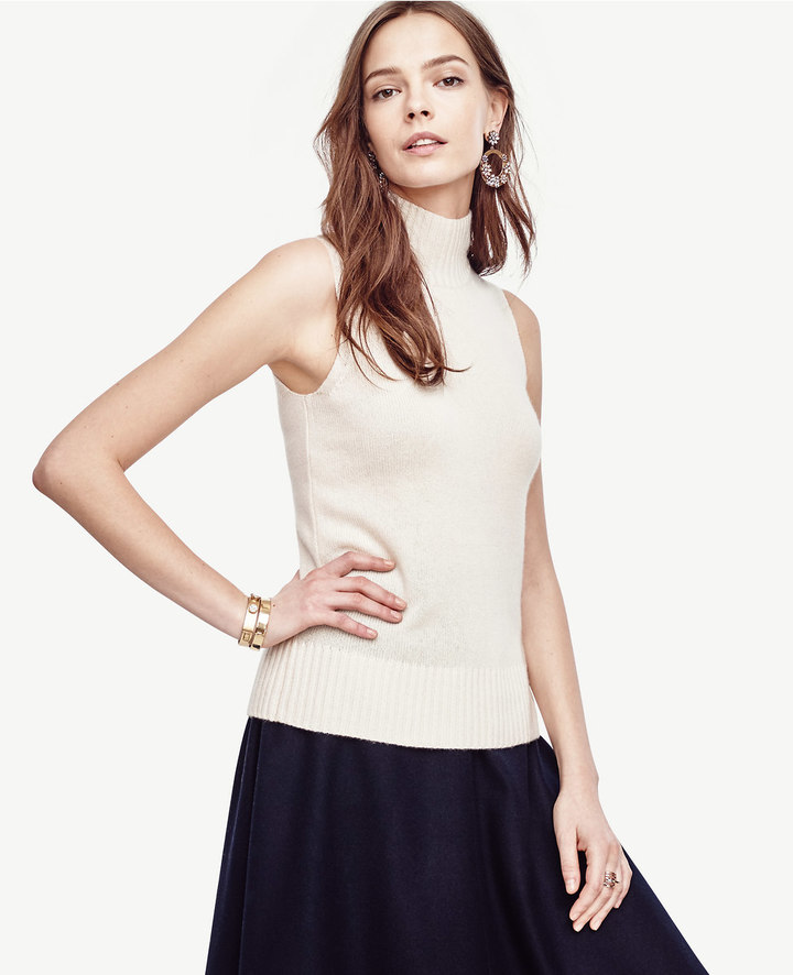 Ann Taylor Petite Cashmere Sleeveless Sweater