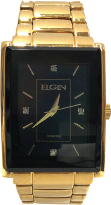 Elgin Mens Gold Metallisation case and Genuine diamond dial