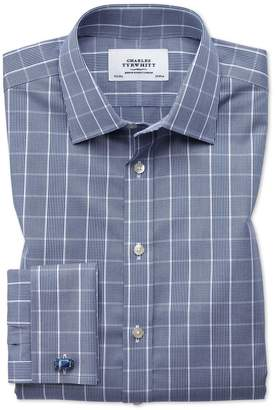 Charles Tyrwhitt Classic Fit Non-Iron Prince Of Wales Navy Blue and White Cotton Dress Shirt French Cuff Size 15.5/34