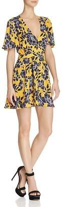 Olivaceous Floral Print Deep V-Neck Dress