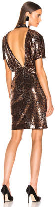 MSGM Animalier Dress in Gold & Black Leopard Print | FWRD