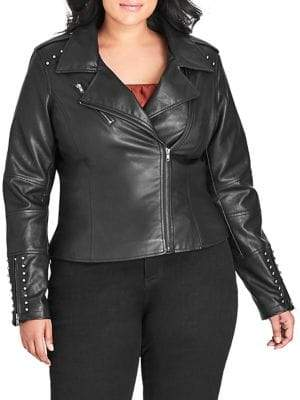 City Chic Plus Studded Asymmetrical Jacket