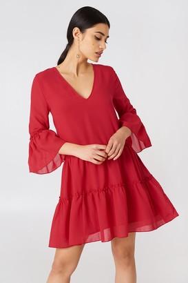 Na Kd Boho V-Neck Ruffle Mini Dress