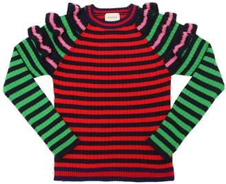 Gucci Striped Wool Knit Sweater W/ Ruffles