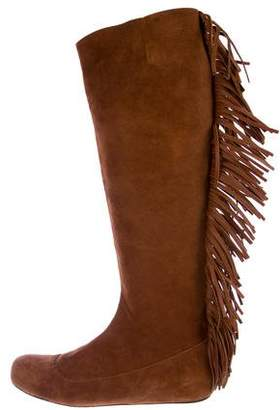 Lanvin Suede Fringe Knee-High Boots