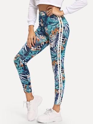 Shein High Waist Tropical Print Leggings