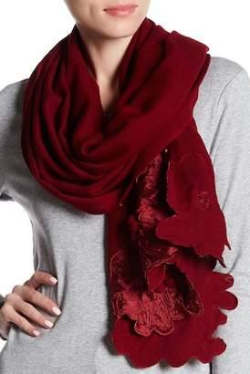 Saachi Nova Floral Embroidered Border Wool Scarf
