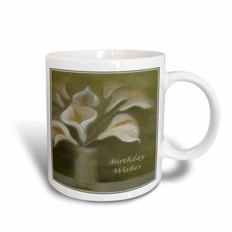 3dRose Birthday Wishes - calla, calla lilies, calla lily, callas, easter lily, floral, flower, Ceramic Mug, 15-ounce