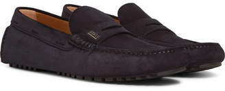 HUGO BOSS Suede Driving Shoes - Men - Navy