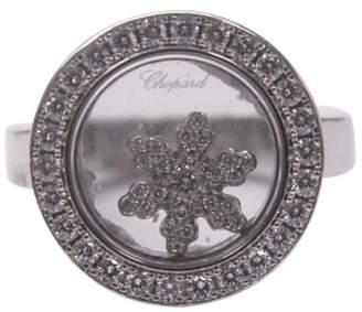 Chopard Happy Diamond 18K White Gold 0.53ct Diamond Snow Flake Ring Size 6.25