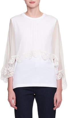 Chloé Short-Sleeve Lace-Cape Jersey T-Shirt