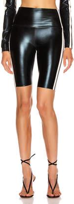 Norma Kamali Side Stripe Bermuda Short in Black Foil & Engineered Stripe | FWRD