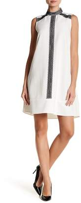Sharagano Sleeveless Mock Neck Knit Trim Dress