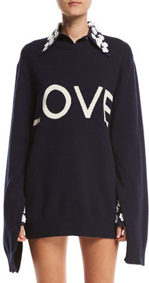 Michael Kors Collection Love Oversized Crewneck Sweater, Navy $995 thestylecure.com