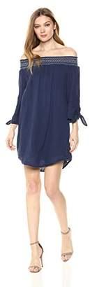 Michael Stars Women's Double Gauze 3/4 Sleeve Off-The-Shoulder Dress