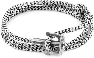 Anchor & Crew White Noir Union Anchor Silver & Rope Bracelet