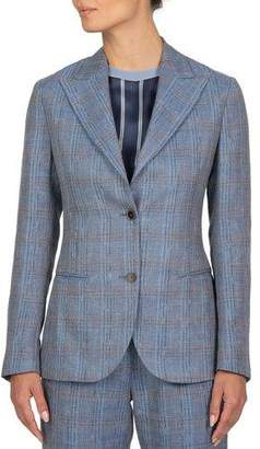 Eleventy Plaid Linen-Blend Two-Button Jacket
