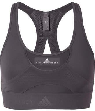 adidas by Stella McCartney Cutout Mesh-paneled Climalite Stretch Sports Bra - Charcoal