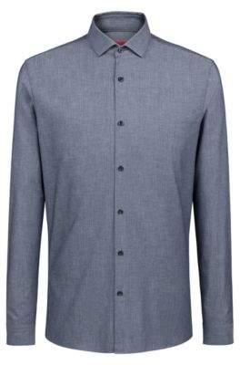 HUGO Boss Extra-slim-fit cotton shirt chevron micro structure 14.5 Dark Blue