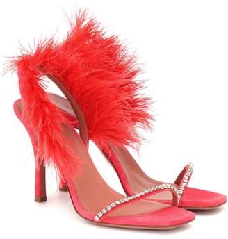Amina Muaddi Adwoa feather-trimmed suede sandals