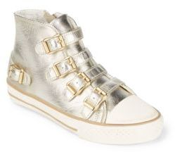 Girl's Vava Buckle Leather High-Top Sneakers $95 thestylecure.com