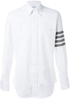 Thom Browne Long Sleeve Shirt With Black And White Woven 4-Bar Stripe In White Oxford