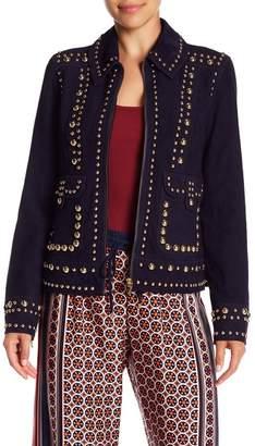 Trina Turk Rosewood Suede Studded Jacket