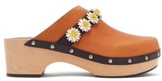 Fabrizio Viti - Jean Floral Applique Leather Clogs - Womens - Tan Multi
