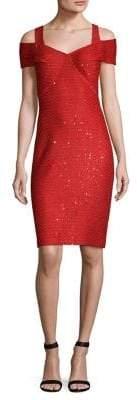 St. John Sequin Knit Cold-Shoulder Dress