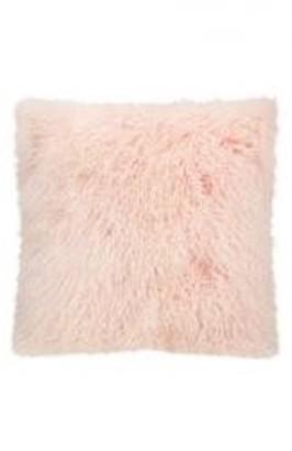 Nourison Couture Fur Tibetan Sheepskin Rose Throw Pillow