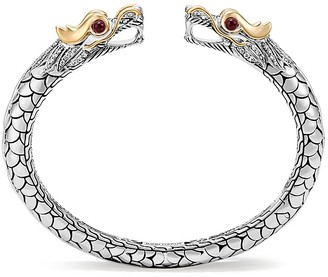 John Hardy 18K Yellow Gold and Sterling Silver Legends Naga Small Kick Cuff with African Ruby Eyes with Diamonds $4,500 thestylecure.com