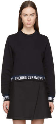 Opening Ceremony Black Cropped Elastic Logo Sweatshirt