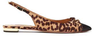 Aquazzura Mondaine Knotted Leopard Print Flats - Womens - Leopard