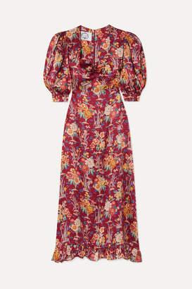 Evi Grintela Vanessa Ruffled Floral-print Silk-satin Midi Dress - Pink