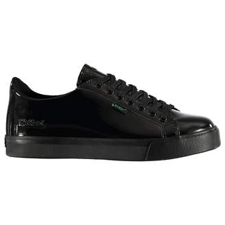 Kickers Boys Tovni Patent Shoes Low Trainers Lace Up Tonal Stitching
