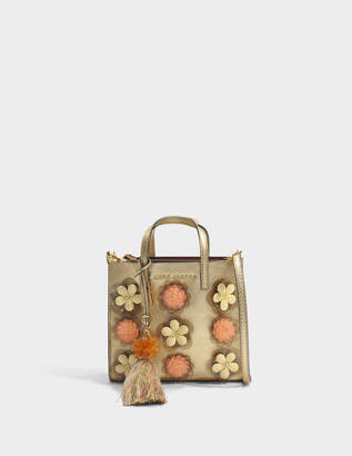 Marc Jacobs The Mini Grind Embellished Flowers Bag in Gold Cow Leather with Metallic Foil