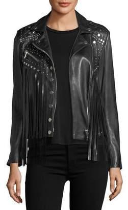 Moto Nour Hammour Whiskey Star-Studded Fringed Leather Jacket
