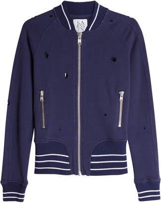 Zoe Karssen Distressed Cotton Bomber Jacket